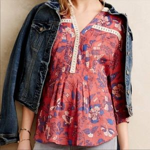 Anthropologie Maeve Abella Floral Peasant Top